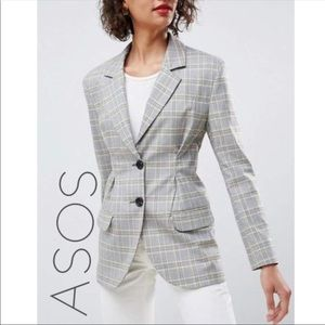 NWT ASOS check plaid fitted blazer jacket 12 L